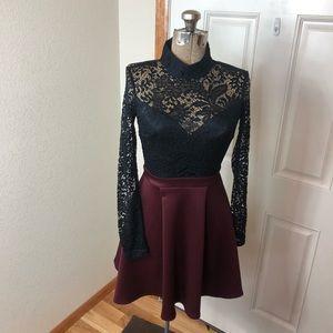 NWT B Darlin Black & Wine Lace Dress